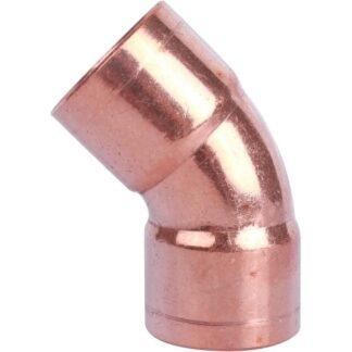 Отвод медный 45° 1 1/8 двухраструбный дюймовый
