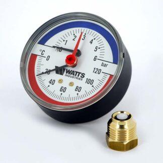 Термоманометр аксиальный F+R818 80 мм 0-6 бар 0-120 С