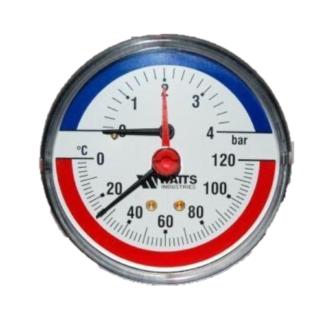 Термоманометр аксиальный F+R818 80 мм 0-4 бар 0-120 С