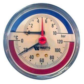 Термоманометр аксиальный F+R818 80 мм 0-10 бар 0-120 С
